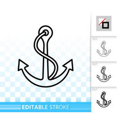 anchor sea simple black line nautical icon vector image