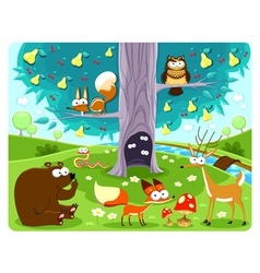 Animals and tree vector