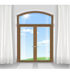 Arched double doors vector
