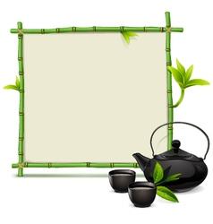 Bamboo Frame with Tea vector