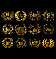 Beautiful gold wreathes set vector