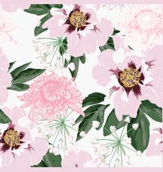 Beautiful pink peony and chrysanthemum flowers vector