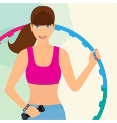 Beautiful woman exercising with hula hoop vector