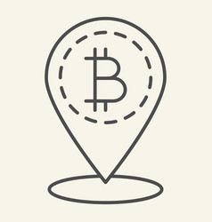 bitcoin location thin line icon bitcoin and map vector image