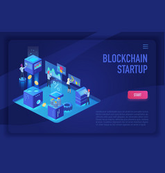 blockchain startup team cryptocurrency and vector image