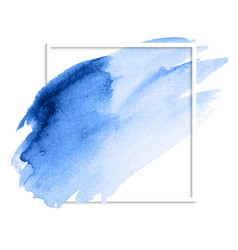Blue abstract watercolor stain brush strokes vector