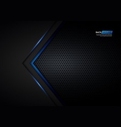 blue light arrow black with hexagon mesh vector image