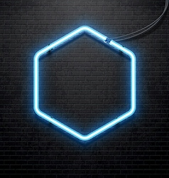 Blue neon lamp isolated on black brick wall vector