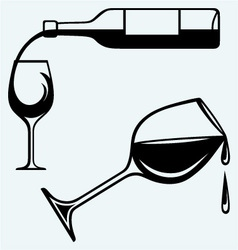 Bottle of wine and glasses vector image
