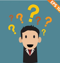 Businessman with question marks - - EPS10 vector