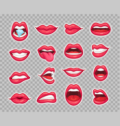 Candy lips patches vintage 80s fashion stickers vector