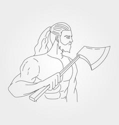 Carpenter holding ax design gentleman with ax vector
