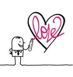 Cartoon man drawing a sketchy heart vector