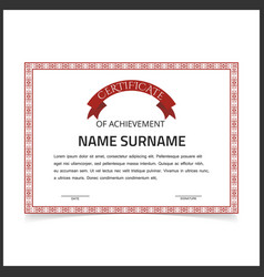 Certificate template with red designe borders on vector