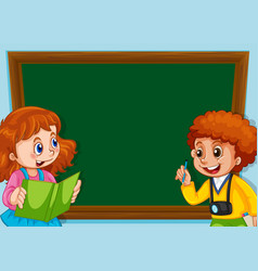 children on chalkboard template vector image