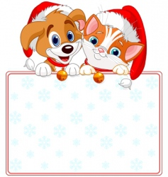 Christmas cat and dog sign vector image