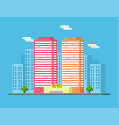 city summer landscape with skyscrapers and hotel vector image
