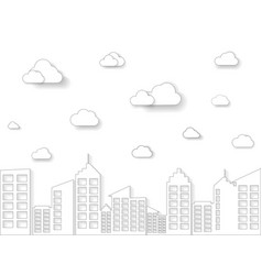 cloud and building in linear style thin line art vector image