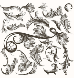 collection of antique hand drawn ornaments vector image