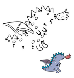 connect dots and draw a cute little dragon vector image