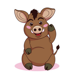 cute boars cartoon flat style vector image