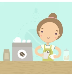 Cute girl barista preparing drink at the counter vector image