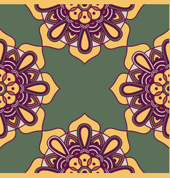 Decorative floral colorful mandala ethnicity frame vector