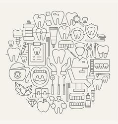 dental line icons circle vector image