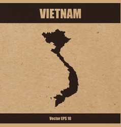 Detailed map of vietnam on craft paper vector