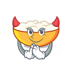 Devil cottage cheese mascot cartoon vector