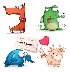 dog frog elephant cow - set animals vector image