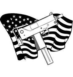 draw in black and white weapont uzi with vector image