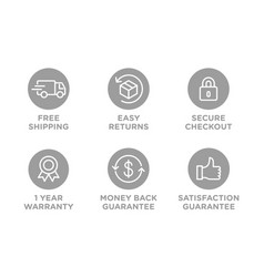 E-commerce security badges risk-free shopping vector