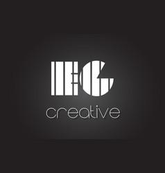 Eg e g letter logo design with white and black vector