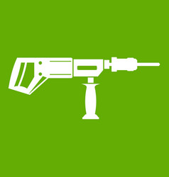 Electric drill perforator icon green vector