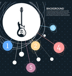 electric guitar icon with the background to the vector image