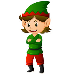 elf in green shirt and hat vector image