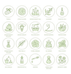 Essential oils aromatherapy line icons set vector