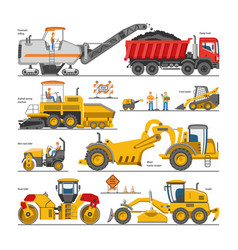 excavator for road construction digger or vector image