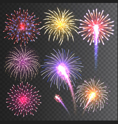 Festive fireworks collection realistic colorful vector
