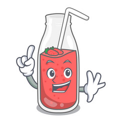 finger strawberry smoothie mascot cartoon vector image