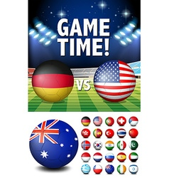 Flags on round balls and stadium vector