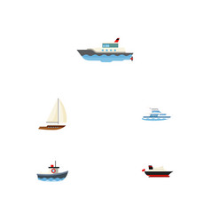 flat icon vessel set of cargo boat transport and vector image