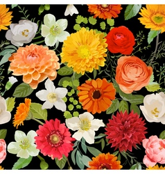 Floral Seamless Pattern Summer and Autumn Flowers vector image