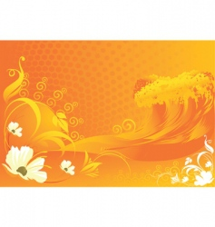 Flowers with wave designs vector
