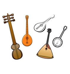 Folk stringed musical instruments design elements vector image