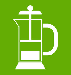 french press coffee maker icon green vector image
