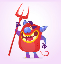 Funny cartoon devil vector