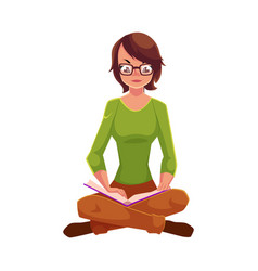 Girl woman in glasses sitting legs crossed vector
