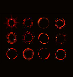 glow red circles with sparkles and smoke vector image